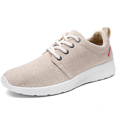 Homens sapatos Linho Primavera Outono Conforto Tênis Caminhada Cadarço para Casual Branco Preto Bege
