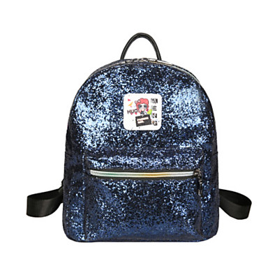 Women's Bags PU Backpack Sequin for Event/Party Casual All Seasons Blue Black Silver Blushing Pink