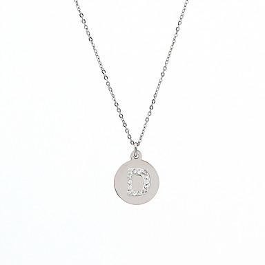 Damen Edelstahl Anhängerketten - Personalisiert Erste Schmuck Kreisförmig Gold Silber Modische Halsketten Für Geburtstag Abschluss