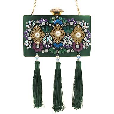 Damen Taschen Seide Abendtasche Strass Perlen Verzierung Blume Muster Quaste für Hochzeit Veranstaltung / Fest Normal Formal Ganzjährig