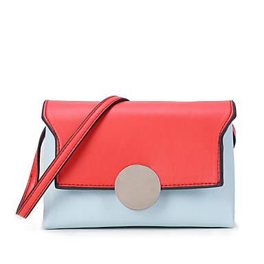 Női Táskák PU Vállon átvetős táska Fém csattal / Kombinált Narancssárga / Arcpír rózsaszín / Sötétbarna