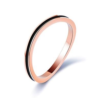 Női Luxus Kocka cirkónia Titanium Acél Band Ring - Circle Shape Luxus / Klasszikus / Alap Vörös arany Gyűrű Kompatibilitás Parti /