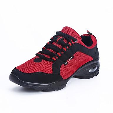 Women's Dance Sneakers Breathable Mesh Sneaker Low Heel Dance Shoes Black / Red