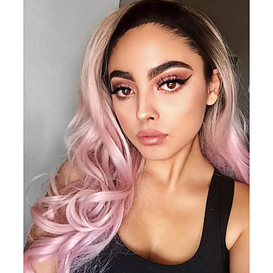 Synthetic Lace Front Wig Natural Wave Style Lace Front Wig Pink Pink Synthetic Hair Women's Pink Wig Long Uniwigs Natural Wigs