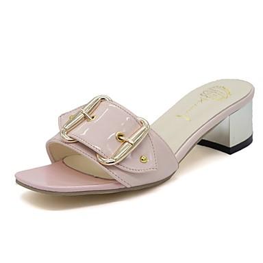 Damen Schuhe PU Sommer Komfort Slippers & Flip-Flops Walking Niedriger Heel Offene Spitze für Normal Weiß Beige Rosa