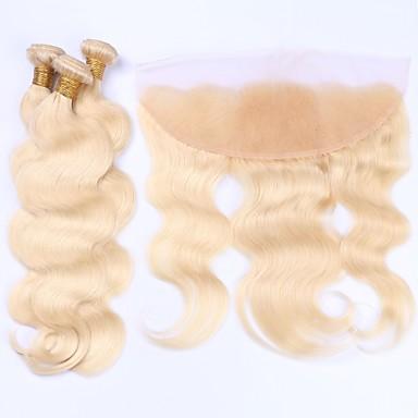 Brazilian Hair Virgin Human Hair Hair Weft with Closure Human Hair Weaves Human Hair Extensions Women's