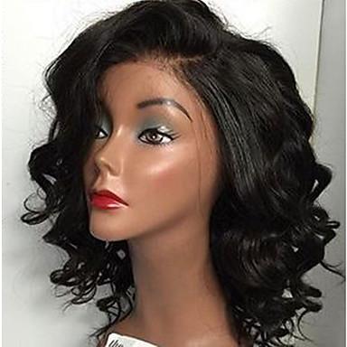 Echthaar Vollspitze Perücke Große Wellen 130% Dichte 100 % von Hand geknüpft Afro-amerikanische Perücke Natürlicher Haaransatz Kurz