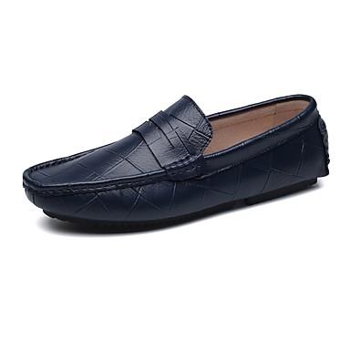 Férfi cipő PU Tavasz Ősz Kényelmes Papucsok & Balerinacipők Ráncolt mert Hétköznapi Fekete Barna Kék