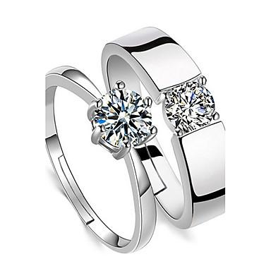 Páros Kocka cirkónia Cirkonium Páros gyűrűk - Négyágú Alap Ezüst Gyűrű Kompatibilitás Esküvő / Napi / Hétköznapi