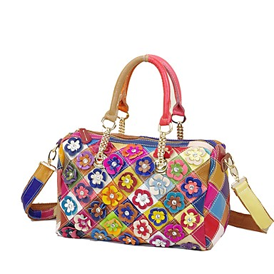 Women's Bags Cowhide Tote Rhinestone / Flower / Plaid Rainbow