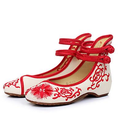 Damen Schuhe Stoff Frühling Sommer Komfort Flache Schuhe Flacher Absatz für Normal Schwarz Rot Blau