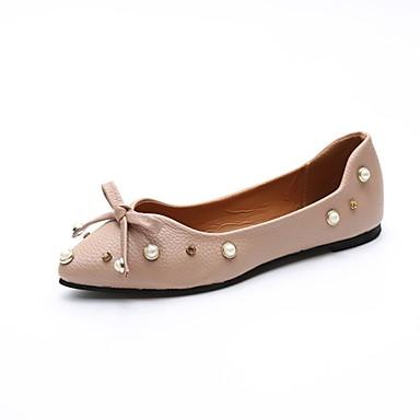 Damen Schuhe PU Sommer Komfort Flache Schuhe Walking Flacher Absatz Spitze Zehe Perle für Weiß / Braun / Mandelfarben
