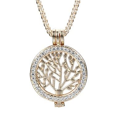 Női Leaf Shape Kristály / Strassz Kristály Nyaklánc medálok - Személyre szabott / aranyos stílus / Divat Kör Arany / Ezüst Nyakláncok