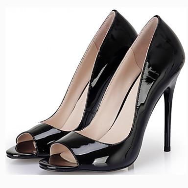 Women's Shoes PU(Polyurethane) Spring / Fall Novelty Heels Stiletto Heel Peep Toe White / Black / Red / Wedding / Party & Evening / Dress
