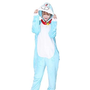 Adults' Kigurumi Pajamas Cat Onesie Pajamas Costume Flannel Fabric Cosplay For Animal Sleepwear Cartoon Halloween Festival / Holiday / Christmas
