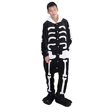 Adults' Kigurumi Pajamas with Slippers Skeleton / Ghost Onesie Pajamas Costume Flannel Fabric Black / White Cosplay For Animal Sleepwear Cartoon Halloween Festival / Holiday / Christmas