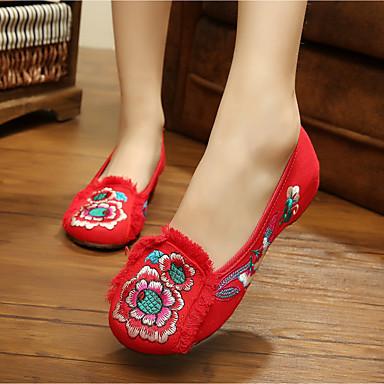 Damen Schuhe Stoff Frühling Sommer Komfort Loafers & Slip-Ons Flacher Absatz Für Normal Schwarz Rot