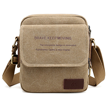Men's Bags Canvas Crossbody Bag for Casual Gray / Coffee / Brown