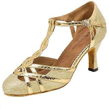 Damen Schuhe für modern Dance Kunstleder Netz Sandalen Absätze Professionell Schnalle Maßgefertigter Absatz Gold Purpur 3 - 3 3/4inch 2 -
