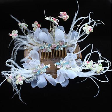Tüll Feder Seidennetz Blumen Haarspange Kopfstück eleganten Stil