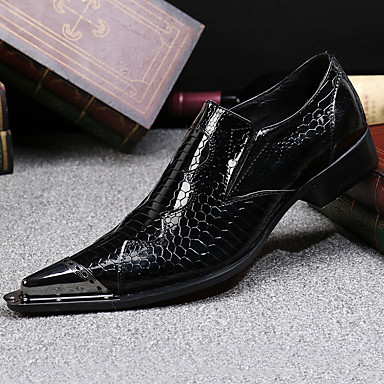 halpa Miesten kengät-Miesten Muodolliset kengät Nappanahka Syksy / Talvi Vintage Oxford-kengät Vaellus Musta / Juhlat / Juhlakengät