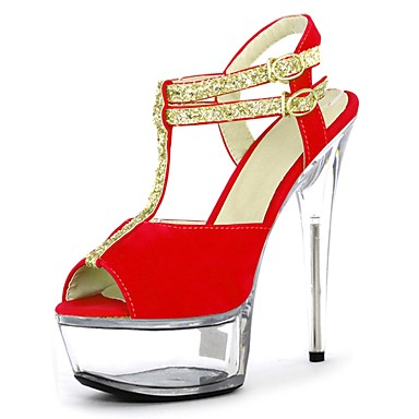 Women's Shoes Sparkling Glitter Summer Formal Shoes Sandals Stiletto Heel Peep Toe Sparkling Glitter / Buckle / Lace-up Red / Blue / Clear