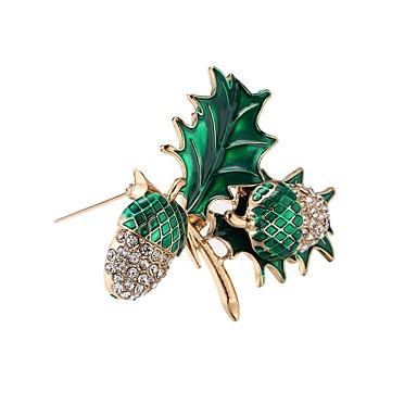 Férfi, Női Szintetikus gyémánt Melltűk - Leaf Shape Zöld / Hipoallergén / Hipoallergén