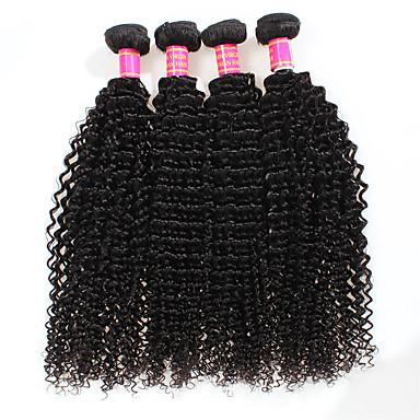 Brazil haj Göndör / Kinky Curly / Mély hullám Szűz haj Az emberi haj sző 4 csomópont Emberi haj sző Fekete / Kinky Göndör