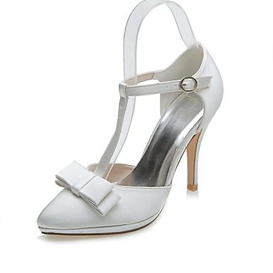 Női Cipő Szatén Tavasz / Nyár Formai cipő Esküvői cipők Tűsarok Erősített lábujj Csokor Ezüst / Kristály / Party és Estélyi