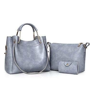 Damen Taschen PU Bag Set 3 Stück Geldbörse Set Reißverschluss für Normal Ganzjährig Schwarz Rote Grau Braun