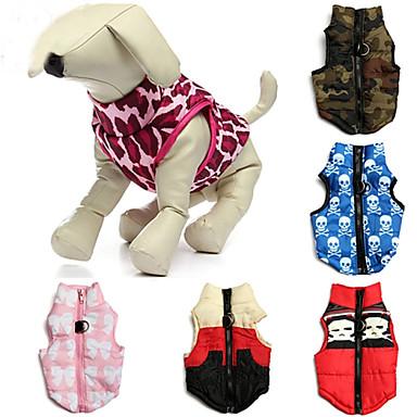 Kot Pies Płaszcze Yelek Ubrania dla psów kamuflaż Czaszki Czerwony Niebieski Różowy Camouflage Color Red/White Bawełna Kostium Dla