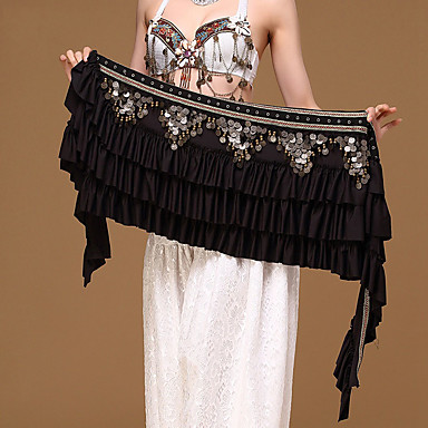 Belly Dance Hip Scarves Women's Performance Polyester Metal Paillette Chain Hip Scarf
