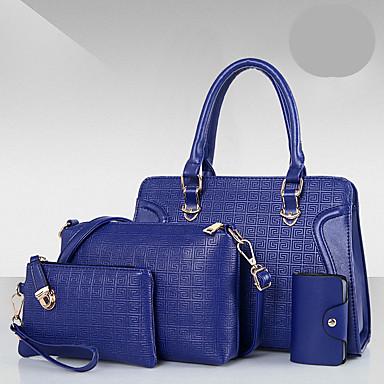 Damen Taschen PU Bag Set 4 Stück Geldbörse Set Reißverschluss für Normal Ganzjährig Blau Gold Weiß Schwarz Rote