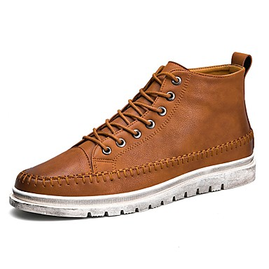 Herren Sneaker Komfort Kunstleder Sommer Herbst Normal Walking Kombination Niedriger Absatz Schwarz Braun Dunkelgrau 2,5 - 4,5 cm