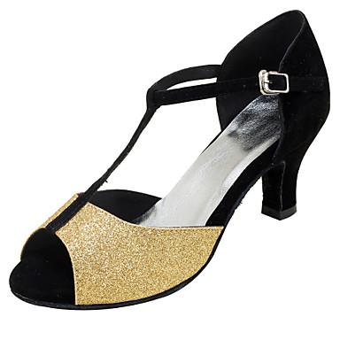Női Latin cipők Csillogó flitter Szandál Teljesítmény Glitter Tűsarok Személyre szabható Dance Shoes Arany / Ezüst