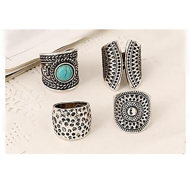 voordelige Herensieraden-Dames Ringen voor stelletjes Ringen Set Turkoois 4pcs Zilver Legering Geometrische vorm epäsäännöllinen Statement Aziatisch Vintage Feest Lahja Sieraden meetkundig stapelbaar