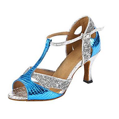 Női Latin cipők Szintetikus / Glitter Magassarkúk Glitter / Minta Kubai sarok Személyre szabható Dance Shoes Kék / Bőr / Professzionális