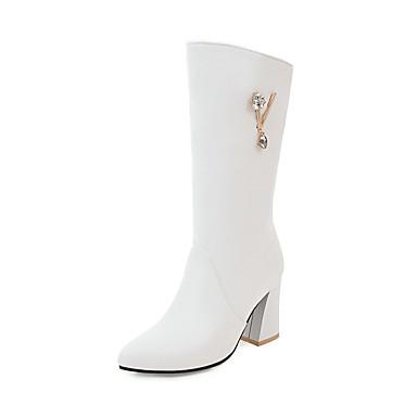 Damen Schuhe Kunstleder Herbst / Winter Komfort Stiefel Walking Blockabsatz Spitze Zehe Kniehohe Stiefel Schnalle für Kleid Schwarz /
