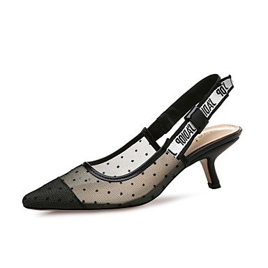 Women's Shoes Synthetic Microfiber PU / Tulle Summer / Fall Slingback Heels Stiletto Heel Pointed Toe Black / Party & Evening / Dress