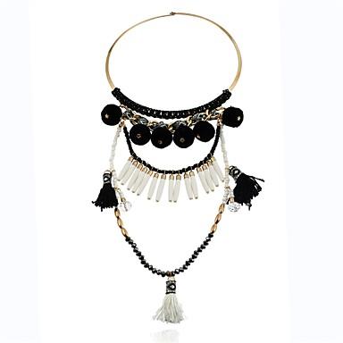 Női Luxus Nyilatkozat nyakláncok - Luxus / Nyilatkozat / aranyos stílus Geometric Shape Fekete / Szivárvány / Rózsaszín Nyakláncok