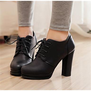 Damen Schuhe PU Frühling Herbst Komfort High Heels Für Normal Schwarz Dunkelbraun