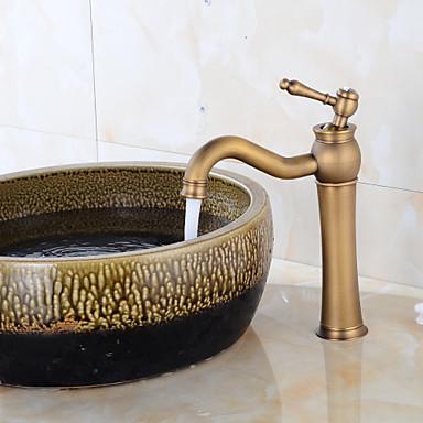 Mittellage Keramisches Ventil Ein Loch Antikes Kupfer, Waschbecken Wasserhahn