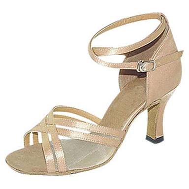 Női Latin cipők Selyem Szandál Teljesítmény Cakkos Tűsarok Személyre szabható Dance Shoes Mandula