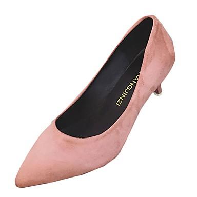 Women's Shoes PU(Polyurethane) Spring / Fall Light Soles Heels Kitten Heel Pointed Toe Beige / Gray / Pink / Dress