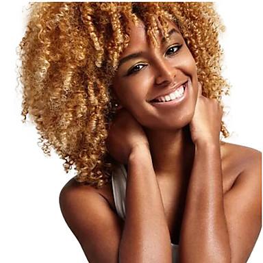 Szintetikus parókák Női Göndör Szőke Szintetikus haj Afro-amerikai paróka Szőke Paróka Közepes Sapka nélküli Szőke
