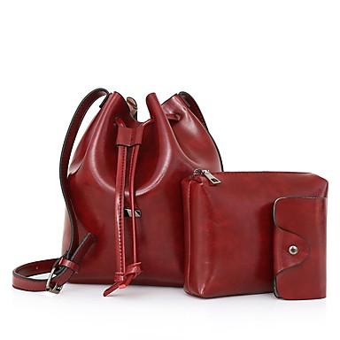 Damen Taschen PU Bag Set 3 Stück Geldbörse Set Sattelgurt für Normal Ganzjährig Schwarz Rote Grau Braun