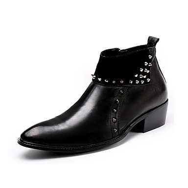 للرجال أحذية جلد شتاء خريف بوتي (جزمة الكاحل) جزمات موضة كتب برشام سحاب إلى فضفاض الحفلات و المساء أسود أحمر