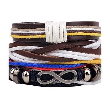 voordelige Herensieraden-Heren Dames Wikkelarmbanden Lederen armbanden geweven Twist Circle Gepersonaliseerde Modieus Paracord Armband sieraden Zwart Voor Dagelijks Causaal Toneel Straat Club