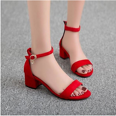 Damen Schuhe PU Frühling Sommer Komfort Sandalen Für Normal Schwarz Rot