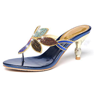 Women's Shoes Synthetic Microfiber PU Summer / Fall Comfort / Novelty Sandals Walking Shoes Low Heel Cap-Toe Rhinestone Black / Blue